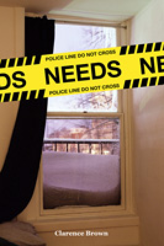 A snow-covered window overlooks a neighborhood. Police tape across the the cover reads: NEEDS.