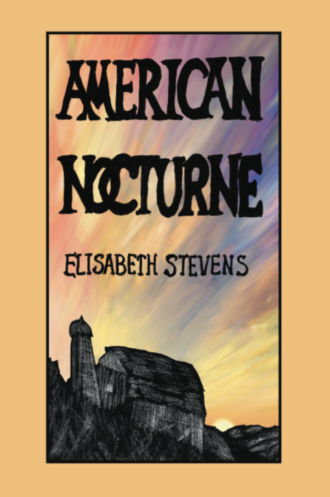 Cover for AMERICAN NOCTURNE by Elisabeth Stevens. ILLUSTRATION: A sun sits on the horizon, casting a barn and its companion silo in shadow.