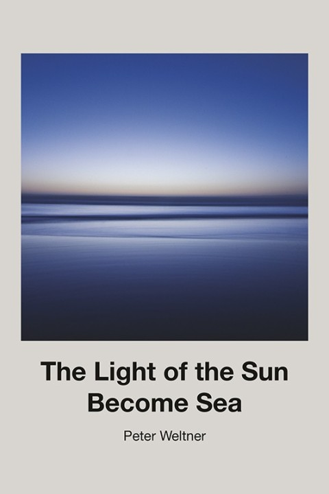 The horizon of a sea stretches out before us. Below the image reads: The Light of the Sun Become Sea, Peter Weltner