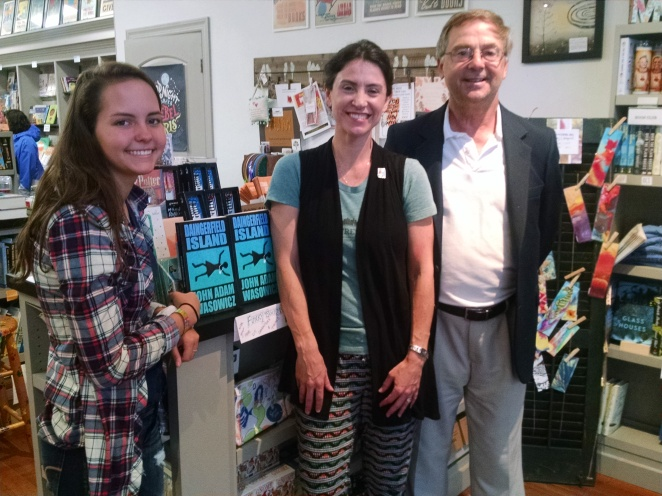 Author John Adam Wasowicz (right) with Anna (left) and manager Catherine Hamilton-Genson (center), at Main Street Books in Davidson for a signing on October 7th, 2017.