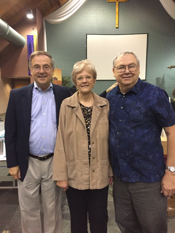 Author John Adam Wasowicz (left) with authors J.M. West (center) and Paul I. Frett (right), at the St. Paul's Authors' Fair in Chambersburg, PA, September 30, 2017.