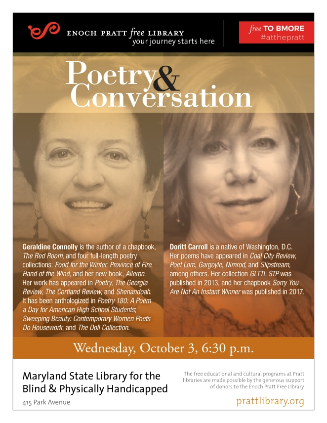 Flyer for Poetry & Conversation Event on October 3rd.  Courtesy of the Enoch Pratt Free Library.